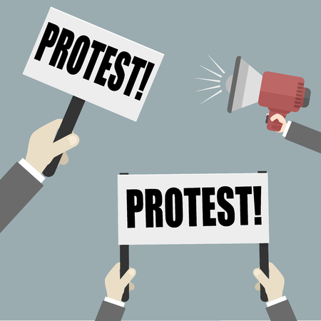 minimalistic illustration of hands holding an empty protest sign, eps10 vector