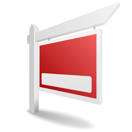 house construction: detailed illustration of a blank real estate sign with red label, eps10 vector
