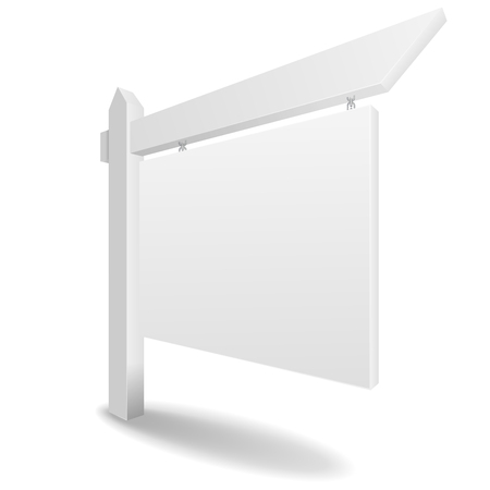 house for sale: detailed illustration of a blank white real estate sign, eps10 vector