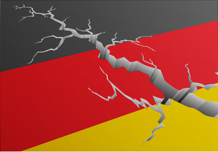 Detailed illustration of the german national Flag with a deep crack, symbol for crisis and problems,  vector Illustration