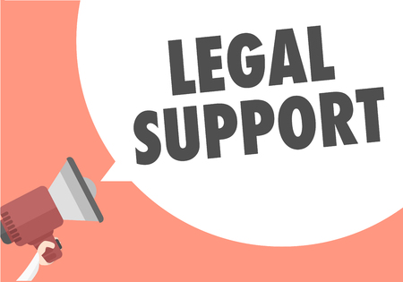 advice: minimalistic illustration of a megaphone with Legal Support text in a speech bubble, vector