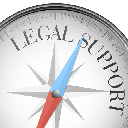 advising: Detailed illustration of a compass with Legal Support text,  vector