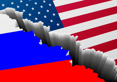 disintegrate: Detailed illustration of the russian and american national Flag with a deep crack, symbol for crisis and problems, vector Illustration
