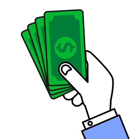 minimalistic illustration of a hand holding money,  vector illustration