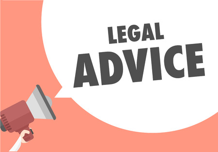 minimalistic illustration of a megaphone with Legal Advice text in a speech bubble,  vector Illustration
