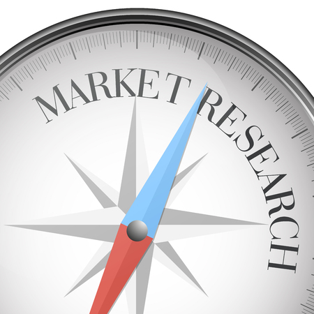 Detailed illustration of a compass with Market Research text, vector