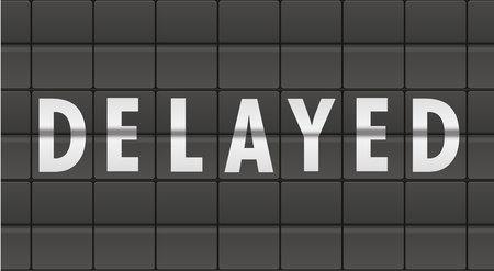 the delayed: detailed illustration of an airport terminal style arrivals or departure message with Delayed text, eps10 vector