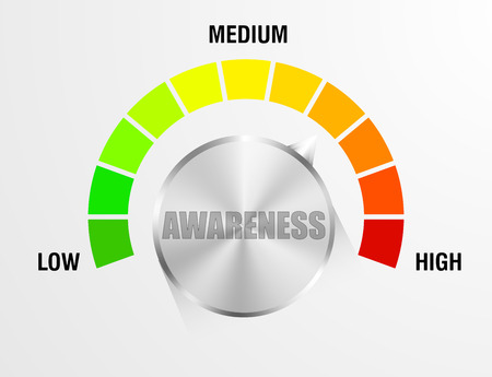 attention: detailed illustration of an awareness meter, eps10 vector