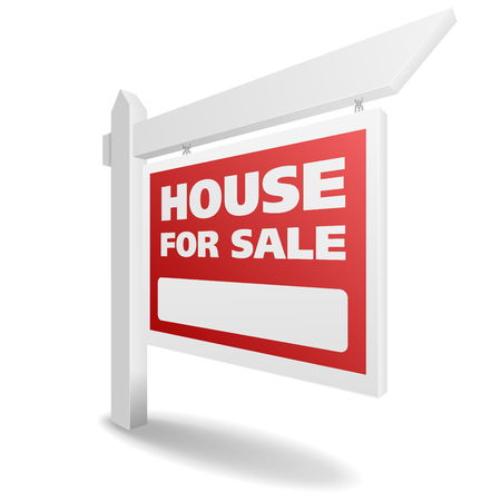house for sale: detailed illustration of a blank white House for Sale real estate sign.