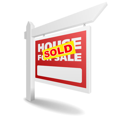 house for sale: detailed illustration of a blank white House sold real estate sign, eps10 vector