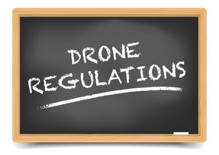illustration détaillée d'un tableau noir avec le texte des règlements Drone, vecteur eps10, filet de dégradé inclus
