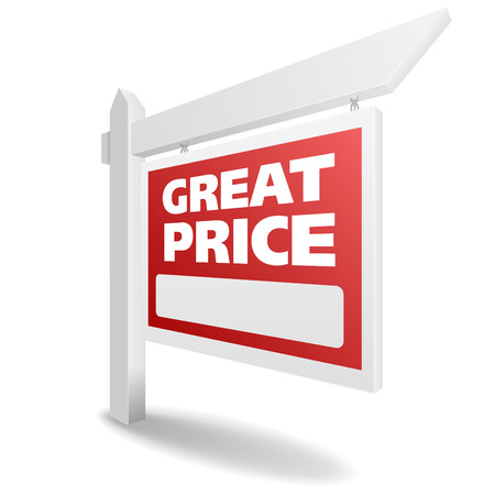 detailed illustration of a blank white Great Price real estate sign, eps10 vector