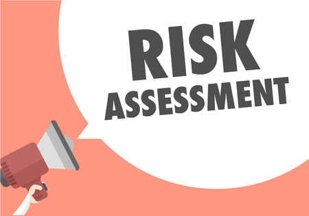 minimalistic illustration of a megaphone with Risk Assessment text in a speech bubble, eps10 vector Illustration