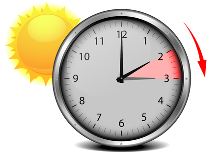 switch to summer time, concept for daylight saving, eps10 vector illustration