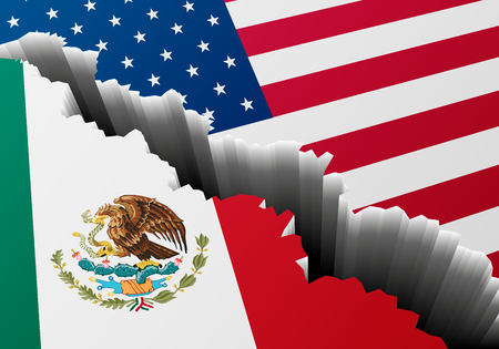 detailed illustration of Mexican and US national Flag with a deep crack.