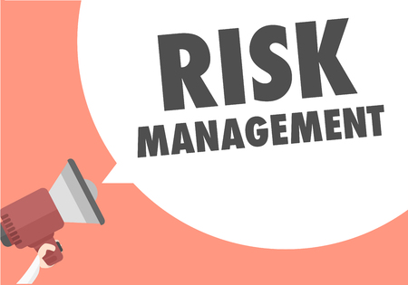 volume control: minimalistic illustration of a megaphone with Risk Management text in a speech bubble, eps10 vector