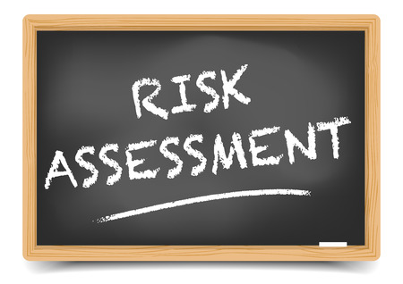 sketch: detailed illustration of a blackboard with Risk Assessment text, eps10 vector, gradient mesh included