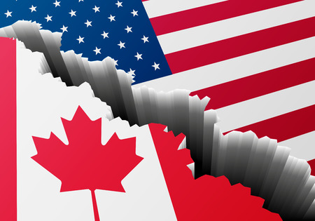 concussion: detailed illustration of Canadian and US national Flag with a deep crack.