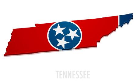 Ilustración detallada de un mapa de Tennessee con la bandera, eps10 vector Ilustración de vector