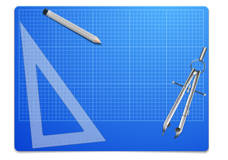 construction projects: illustration of a blueprint workplace with ruler and compass, architectural concept, eps10 vector