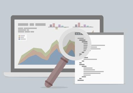 Minimalistyczny rysunek laptopa z arkusza danych i szkła powiększającego, koncepcja analizy danych, wektor eps10