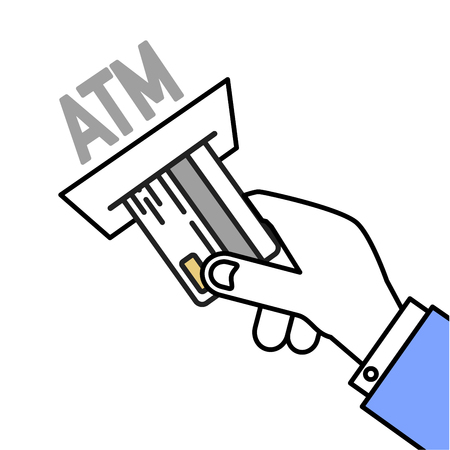 creditcard: minimalistic illustration of a hand inserting a card into an atm, eps10 vector