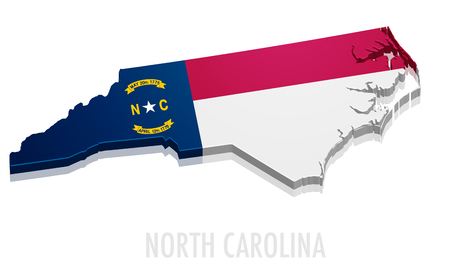 charlotte: detailed illustration of a map of North Carolina with flag, eps10 vector Illustration