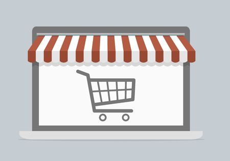 screen: minimalistic illustration of a laptop with shopping cart, mobile shopping concept, eps10 vector Illustration