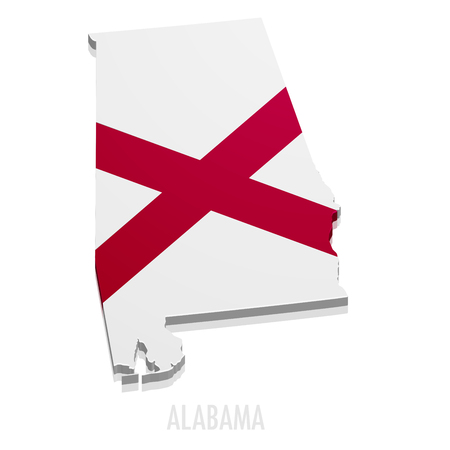 detailed illustration of a map of Alabama with flag, eps10 vector