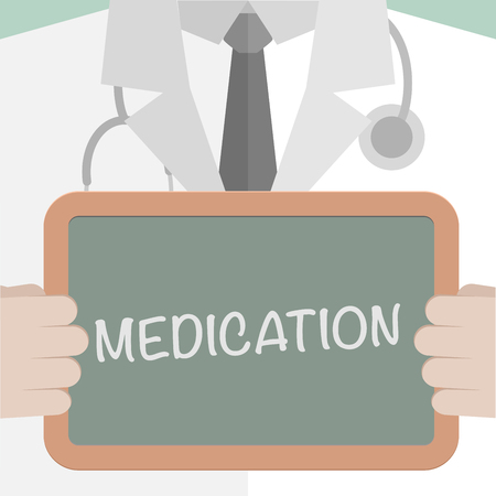 help: minimalistic illustration of a doctor holding a blackboard with Medication text, eps10 vector Illustration