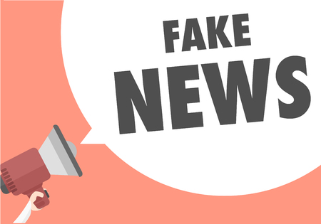 minimalistic illustration of a megaphone with Fake News text in a speech bubble, eps10 vector