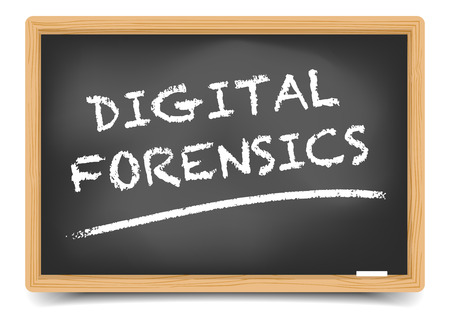 forensics: Detailed illustration of a blackboard with Digital Forensics.