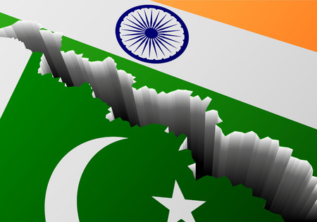 concussion: detailed illustration of the Pakistani and Indian national Flag with a deep crack, symbol for crisis and problems, eps10 vector Illustration