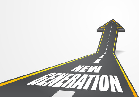 detailed illustration of a highway road going up as an arrow with new generation text, eps10 vector