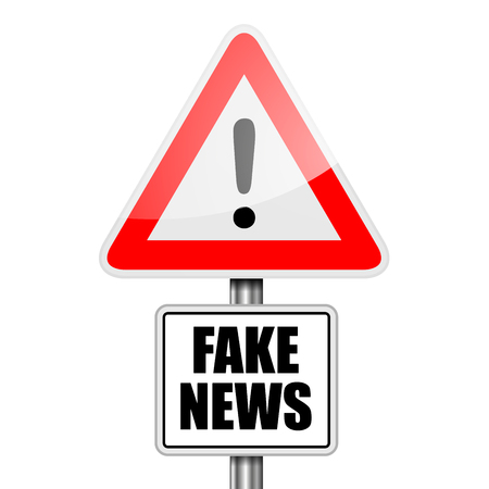 detailed illustration of a red attention Fake News sign,  vector  イラスト・ベクター素材