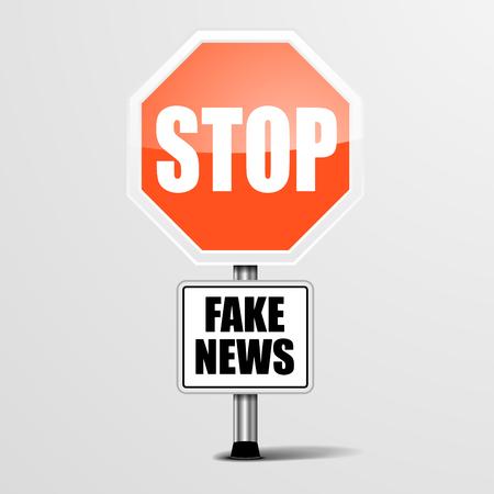 Ilustración detallada de una señal de Falso Noticias de parada roja, vector eps10