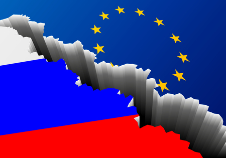 detailed illustration of the russian national Flag and european banner with a deep crack, symbol for crisis and problems, eps10 vector 向量圖像