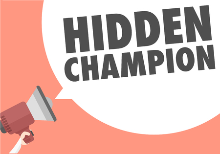 strong: minimalistic illustration of a megaphone with Hidden Champion text in a speech bubble, eps10 vector