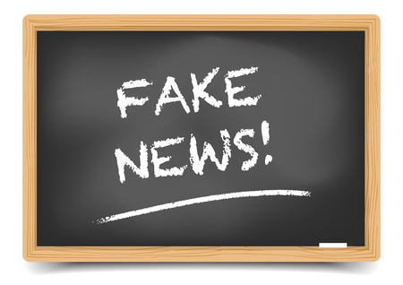 disinformation: Detailed illustration of a blackboard with Fake News vector, gradient mesh included.