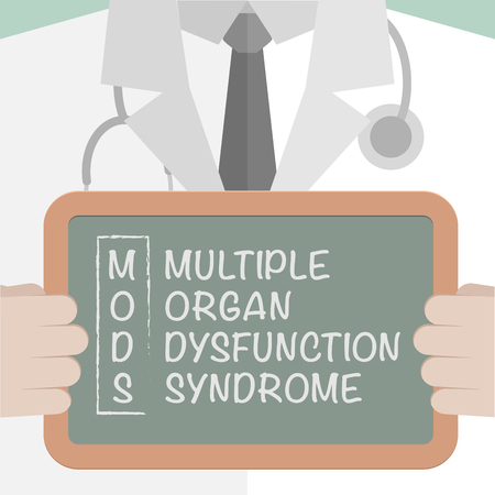 Illustration of a doctor holding a blackboard with MODS Term meaning text.