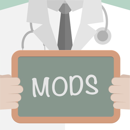 help: Illustration of a doctor holding a blackboard with MODS text.