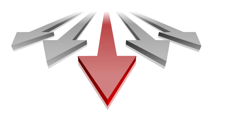 Illustration der Pfeile mit einem roten Pfeil in der Führung, Symbol für Fortschritt und Erfolg. Vektorgrafik