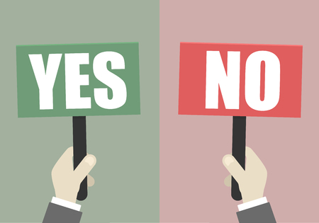 business sign: Illustration of hands holding yes and no signs. Illustration
