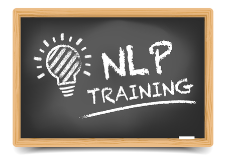 sketch: detailed illustration of a blackboard with NLP Training text and lightbulb sketch, eps10 vector, gradient mesh included