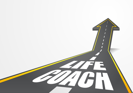 Detailed illustration of a highway road going up as an arrow with Life Coach text, eps10 vector