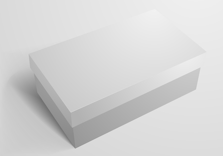 close up: detailed illustration of a blank shoe box packaging template Illustration