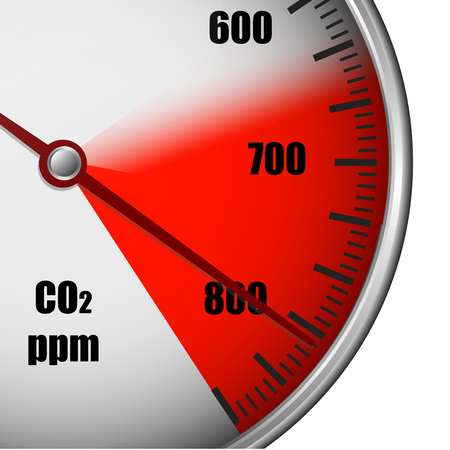 Illustration of a carbon dioxide gauge with red marked area, symbol for high emission, eps10 vector