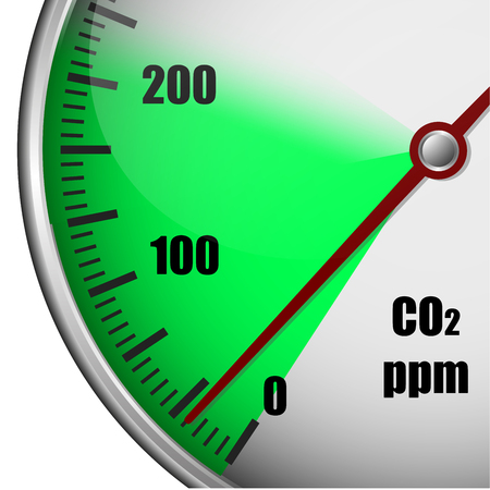arrow poison: Illustration of a carbon dioxide gauge with green marked area, symbol for low emission, eps10 vector Illustration