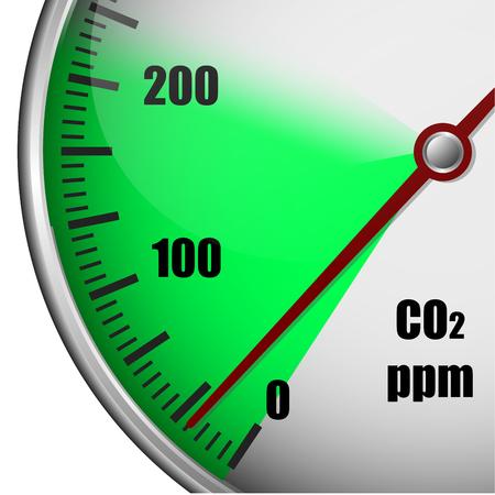 poison arrow: Illustration of a carbon dioxide gauge with green marked area, symbol for low emission, eps10 vector Illustration
