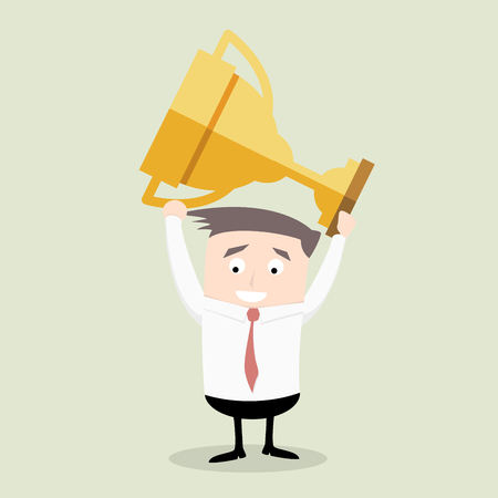 competitions: Minimalistic illustration of a businessman holding a golden trophy, eps10 vector